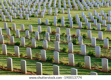 White headstones at the world war 2 cemetery in Greece  - stock photo