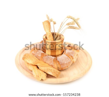 White healthy bread. Isolated on white background.