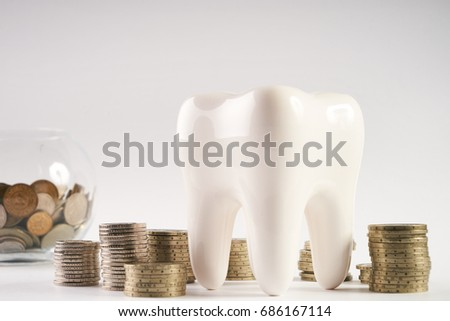 White healthy human enamel tooth model and glass piggy box with stacked coins isolated on white & White Healthy Human Enamel Tooth Model Stock Photo 686167126 ... Aboutintivar.Com
