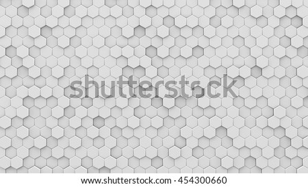 White hexagons mosaic. Computer generated abstract geometric background. 3D render illustration
