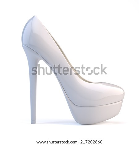 White high heel shoes - stock photo
