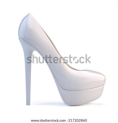 White high heel shoes - stock photo