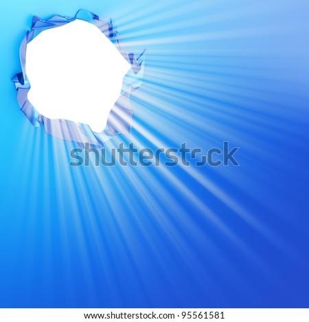 White hole blue background - stock photo