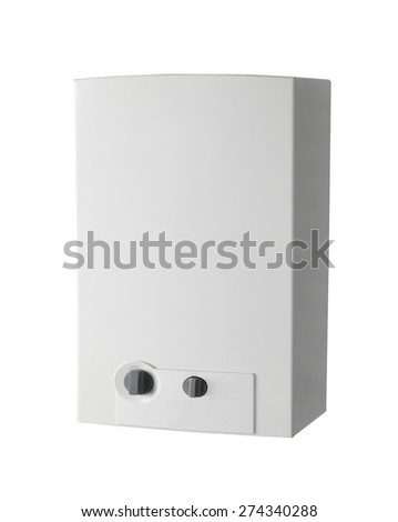White home gas-fired boiler - stock photo