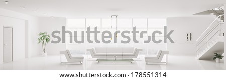 White home interior of modern apartment living room panorama 3d render - stock photo