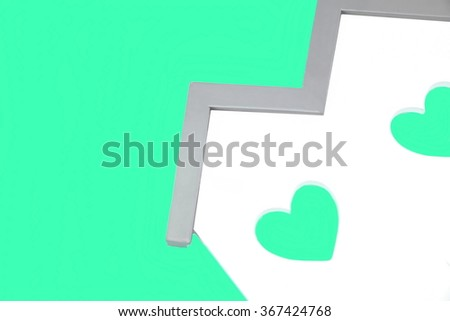 White Home Wooden Shape With Two Green Heart Shape Window Isolated Background, ECO Concept - stock photo