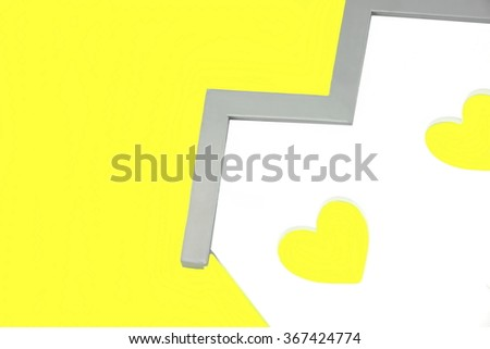 White Home Wooden Shape With Two Yellow Heart Shape Window Isolated Background - stock photo