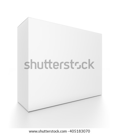 White horizontal rectangle blank box from front side angle. 3D illustration isolated on white background. - stock photo