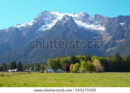 White Horse Mountain and a rural ranch, near Darrington, Washington.