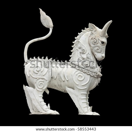 White Horse Pegasus Statue Isolated on Black - stock photo