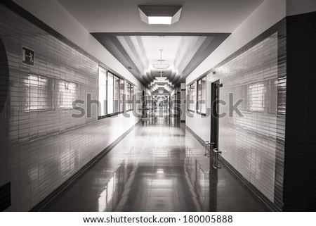 white hospital corridor, clean and hygienic space - stock photo