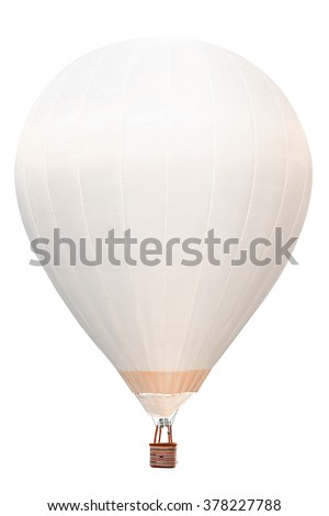 White hot air balloon with basket isolate on white background with clipping path - stock photo