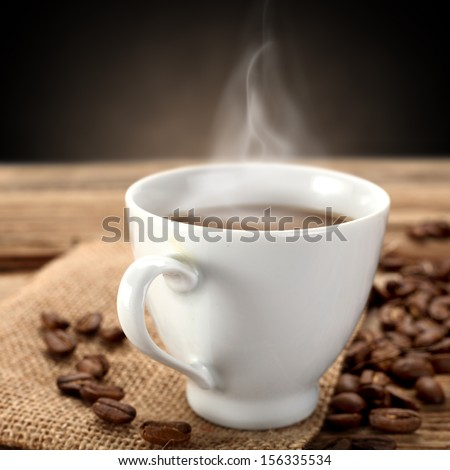 white hot coffee  - stock photo
