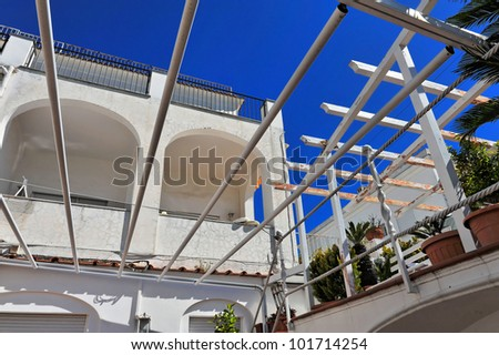 White house against blue sky, Capri, Italy