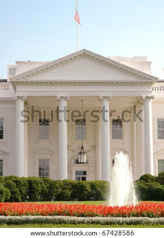 White House front exterior and fountain - stock photo