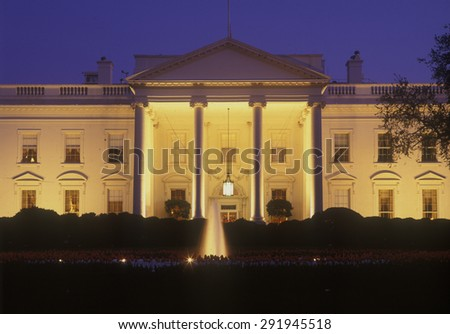 White House in evening at dusk, Washington, DC, home and office for the American President - stock photo