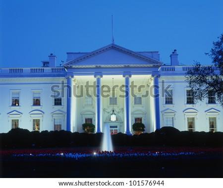 White House in evening, Washington, DC - stock photo