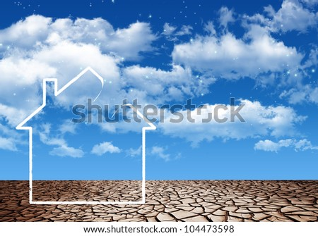 White house in the desert with hole in the roof - stock photo
