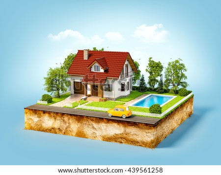 White house of dream on a piece of earth with white fence, garden, pool and trees. Unusual creative 3d illustration - stock photo