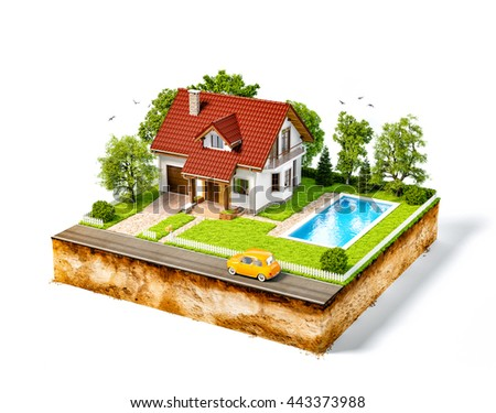 White house of dream on a piece of earth with white fence, garden, pool and trees. Unusual creative 3d illustration isolated at white background - stock photo