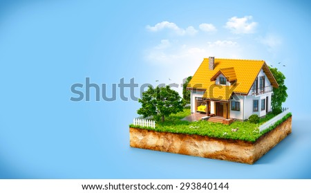 White house on a piece of earth with garden and trees.  - stock photo