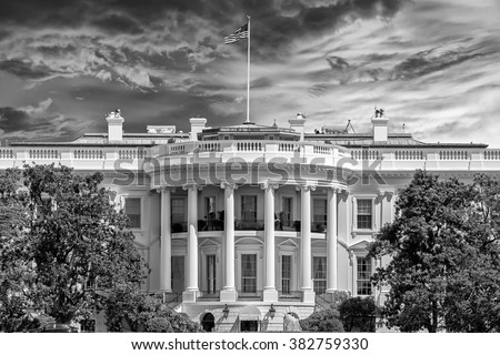 White House on deep blue sky background in black and white - stock photo
