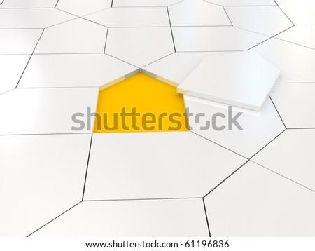 White house puzzle over orange. 3d rendered image - stock photo