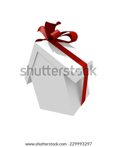 White house shape with a red bow isolated on white