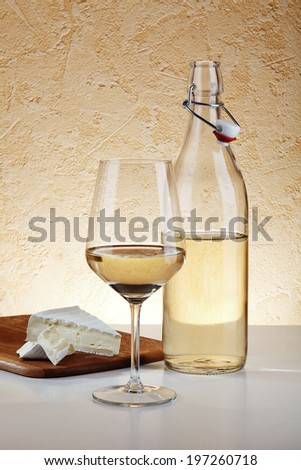 White House Wine and Brie Cheese - stock photo