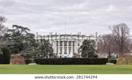 White House with Christmas Decoration - stock photo