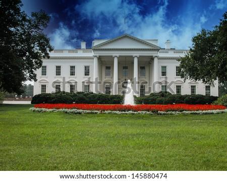 White House with Gardens and Sky, Washington DC - stock photo