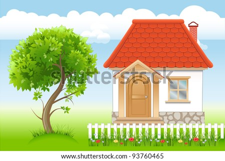 white house with red roof, tree in summer garden - stock photo