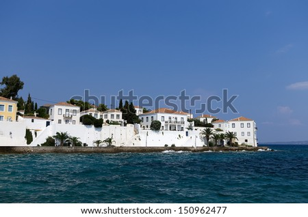 White houses in Spetses island, Greece