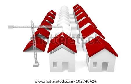 White houses under construction with crane - stock photo