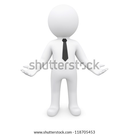 White human is holding something. Isolated render on a white background