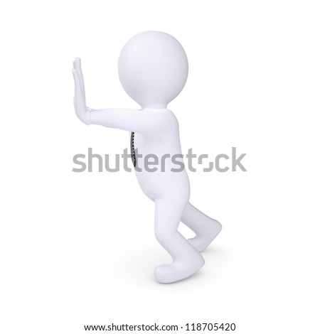 White human pushing something. Isolated render on a white background - stock photo