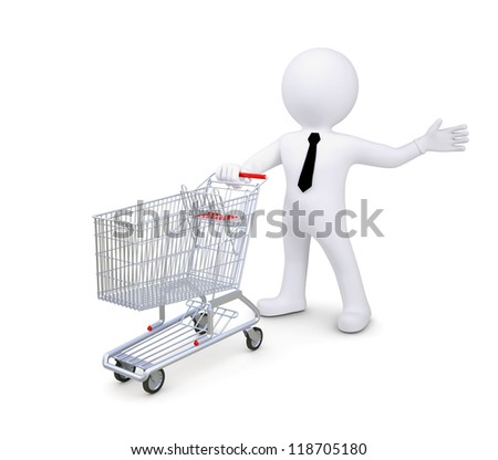 White human standing near a supermarket trolleys. Indicates a hand to the side. Isolated render on a white background - stock photo