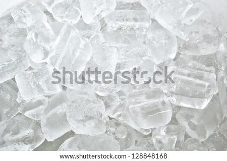 White ice cube background - stock photo