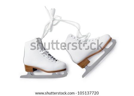white ice-skating shouse isolated on white background - stock photo