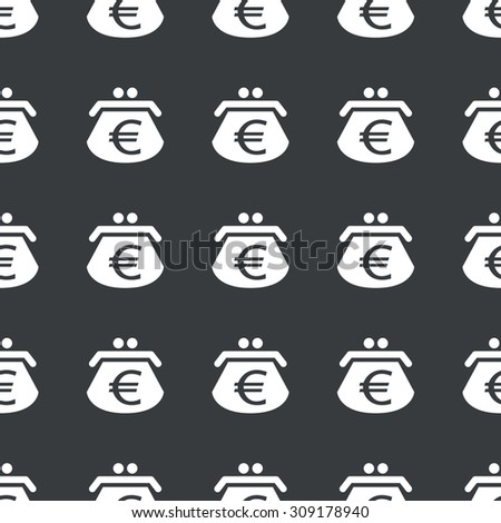 White image of purse with euro symbol repeated on black background - stock photo