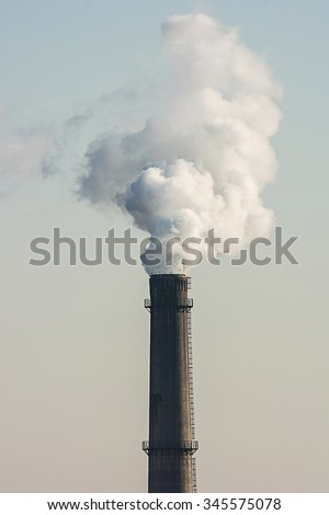 White industrial smoke  from  old and dirty chimney, industrial concept,energy concept. - stock photo