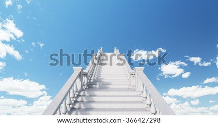 White infinite classical stairs in the centre of the picture leading up into the blue sky. Concept of self-development. 3D rendering - stock photo