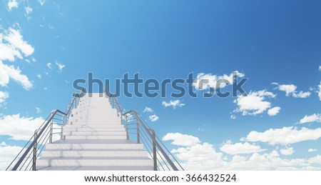 White infinite modern stairs left-centred leading up into the blue sky. Concept of self-development. 3D rendering - stock photo