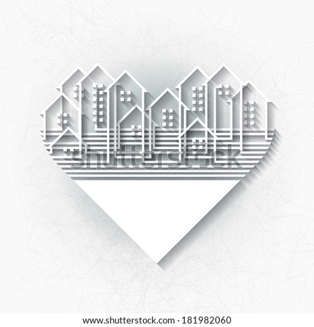 White infographic template with abstract city silhouette inscribed into heart shape. Raster version - stock photo