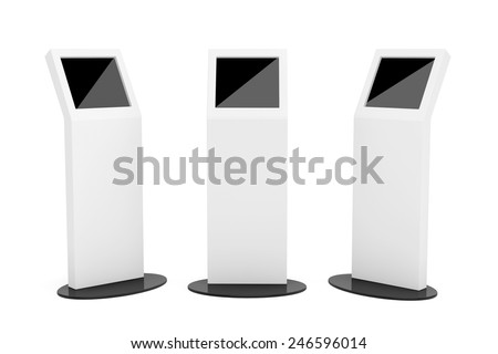 White Information Stands With Touch Screen Display on a white background - stock photo