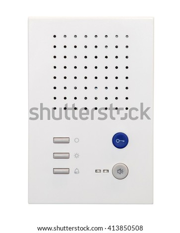White inner audiopanel for outdoor installation. Intercom system isolated on white background - stock photo