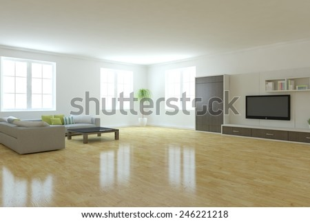 white interior concept with brown furniture -3D rendering - stock photo
