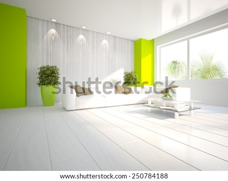 white  interior concept with flower-3D rendering - stock photo
