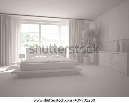 white interior.3D illustration - stock photo