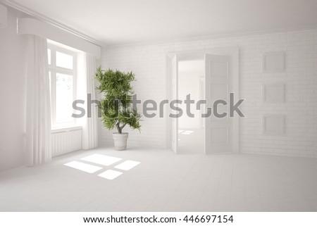 White Interior. 3D illustration - stock photo